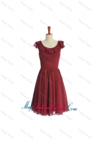 Inexpensive Wine Red Short Bridesmaid Dress with Ruffled Layers and Belt