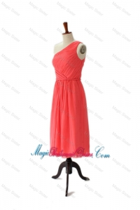Wonderful One Shoulder Belt Short Bridesmaid Dresses with Side Zipper