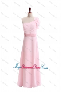 Wonderful Ruffles and Belt One Shoulder Bridesmaid Dress in Baby Pink