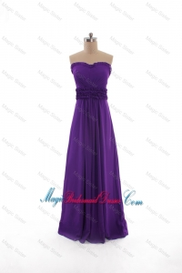 2016 Fall Perfect Empire Strapless Belt Bridesmaid Dresses in Purple