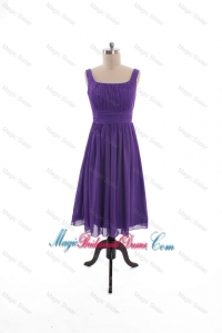 2016 Fall Perfect Square Short Bridesmaid Dresses with Belt in Purple