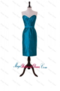 2016 New Style Belt Teal Short Bridesmaid Dresses