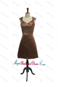 Cheap Ruching Short Bridesmaid Dresses in Brown for 2016