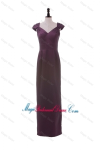 Cheap V Neck Belt Burgundy Long Bridesmaid Dresses for Winter