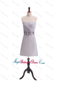 Customize Beading and Hand Made Flowers Short Bridesmaid Dress in Grey