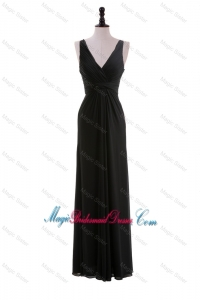 Discount Empire V Neck Ruching Black Bridesmaid Dresses for Holiday