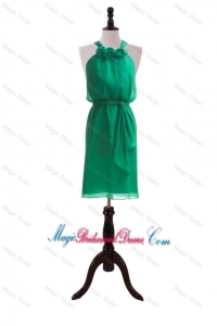 Hand Made Flowers and Sashes Dark Green Luxurious Bridesmaid Dresses