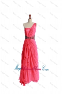 Luxurious Appliques and Ruching Bridesmaid Dresses in Coral Red for 2016
