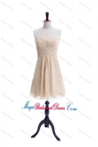 New Style Ruching Strapless Short Bridesmaid Dress in Champagne