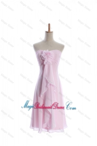 Romantic Empire Strapless Bridesmaid Dresses with Hand Made Flowers