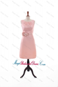 Beautiful Empire Scoop Bridesmaid Dresses with Hand Made Flowers in Peach