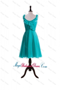 2015 Summer A Line Scoop Bridesmaid Dresses with Paillette in Turquoise