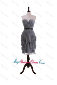 Simple Column Sweetheart Bridesmaid Dresses with Belt in Grey