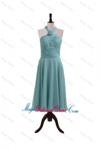Simple Ruching and Hand Made Flower Halter Top Bridesmaid Dresses for Homecoming