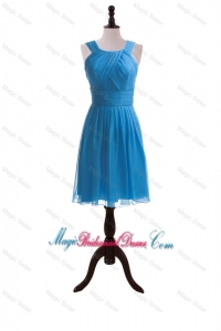 Wonderful 2016 Summer Ruching Short Bridesmaid Dresses in Blue