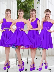 A Line Bowknot Bridesmaid Dresses in Purple