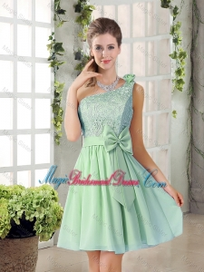 Custom Made One Shoulder Lace 2015 Bridesmaid Dresses with Bowknot