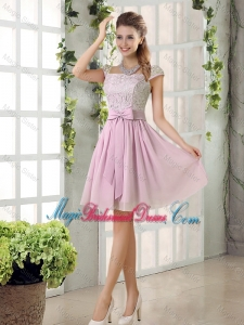 Popular A Line Square Lace Bridesmaid Dresses with Bowknot