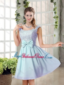 A Line Straps Bowknot Short Bridesmaid Dresses with Bowknot
