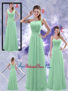 Perfect Zipper up Ruched Bridesmaid Dresses in Apple Green