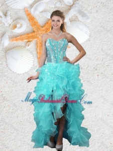 Popular Beaded Sweetheart Aqua Blue Prom Dresses with High Low