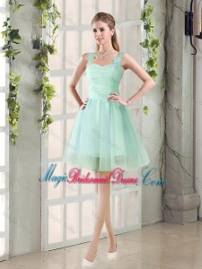 2016 Custom Made A Line Straps Bridesmaid Dresses with Ruching