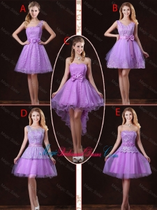 2016 Popular Laced Lilac Bridesmaid Dresses with A Line