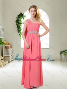 Pretty One Shoulder Sequined Bridesmaid Dresses in Watermelon Red