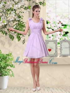 Suitable A Line Straps Bridesmaid Dresses with Hand Made Flowers