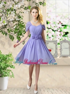 Elegant Hand Made Flowers Bridesmaid Dresses with Short Sleeves