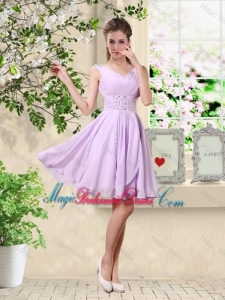Popular V Neck Lavender Bridesmaid Dresses with Beading