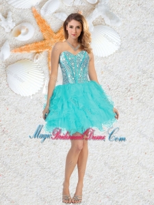 Cheap Sweetheart Beaded and Ruffles Bridesmaid Dresses in Aqua Blue