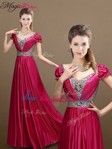Pretty Empire V Neck Beading Bridesmaid Dresses with Short Sleeves