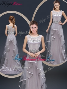 2016 Exquisite Brush Train Scoop Bridesmaid Dresses with Appliques