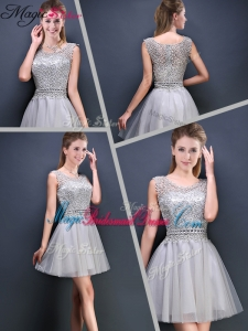 2016 Perfect Mini Length Scoop Bridesmaid Dresses with Appliques