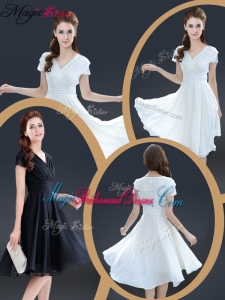 Cheap Knee Length V Neck Bridesmaid Dresses with Ruching