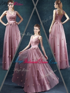 Classical V Neck Bridesmaid Dresses with Appliques and Belt