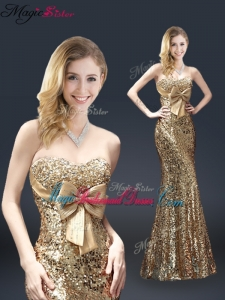 Fall Column Sequins Bridesmaid Dresses with Bowknot in Gold