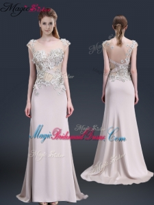 Luxurious Brush Train Cap Sleeves Bridesmaid Dresses with Appliques