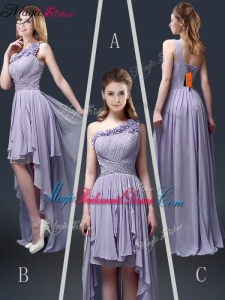 New Style One Shoulder High Low Ruffles Bridesmaid Dresses