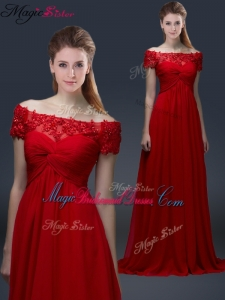Simple Off the Shoulder Short Sleeves Red Bridesmaid Dresses with Appliques