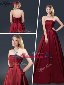 Winter Gorgeous A Line Strapless Bridesmaid Dresses with Brush Train