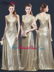 2016 Perfect V Neck Sequins Bridesmaid Dresses in Champagne