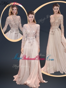 Cheap Brush Train Champagne Bridesmaid Dresses with Beading