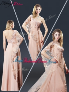 Luxurious One Shoulder Appliques Bridesmaid Dresses in Peach