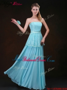 Affordable Strapless Floor Length Bridesmaid Dresses in Aqua Blue