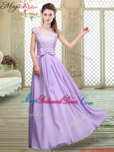 Fashionable Square Cap Sleeves Lavender Bridesmaid Dresses with Belt