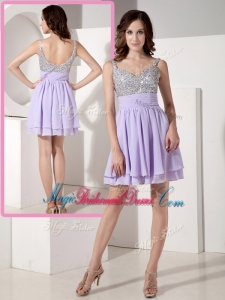 2016 Lovely Short Sweetheart Beading Bridesmaid Dresses in Lavender