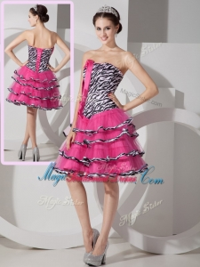 2016 New Style Sweetheart Leopard and Ruffled Layers Bridesmaid Dresses