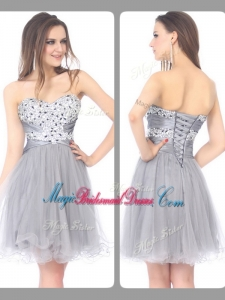 2016 Perfect Sweetheart Lace Up Short Grey Bridesmaid Dresses with Beading